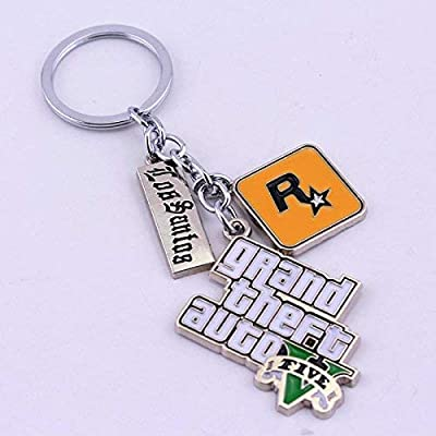 Liz Collection Inspired by Game PS4 GTA V Grand Keychain Theft Auto 5 Keychain PC Rockstar Keyring for Men Boys Gift Jewelry Llavero for Fans (1): Automotive