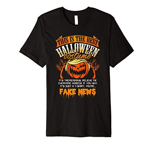 Trump Halloween Costume Shirt Funny Fake News Pumpkin