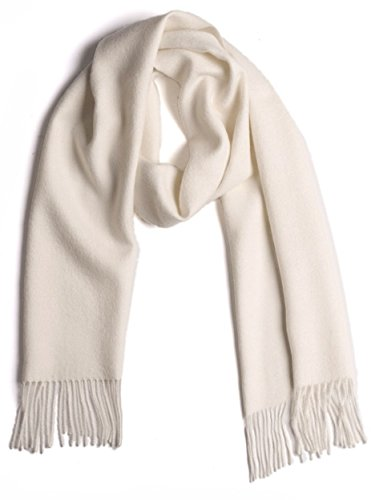 100% Pure Baby Alpaca Scarf, Solid Natural Dye-free Colors (Winter White) (Pure Baby Alpaca)