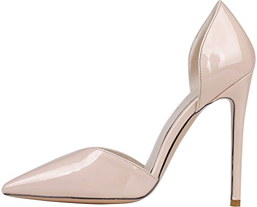 Calaier Mujer Caacross Tacón De Aguja 12CM Sintético Ponerse Sandalias de vestir Zapatos Blanco