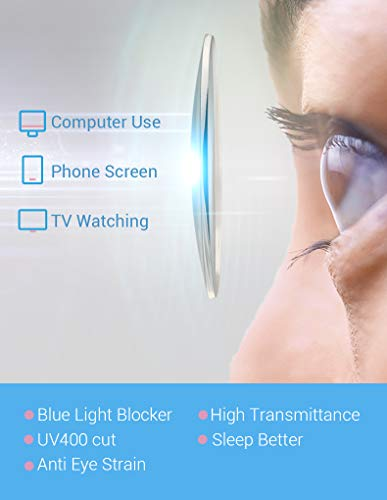 Firmoo Blue Light Blocking Glasses Women Men, UV400 Cut Computer Glasses, Anti Eye Strain Anti Headache, Square Blue Light Blocker Glasses (Black-Gold)