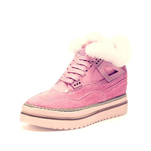 Women's Winter Casual Shoes Warm Tied Shoelaces Student Inner Booster Shoes-A Foot Length=24.3CM(9.6Inch)