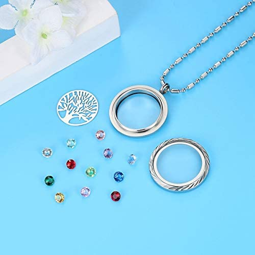 July SILVER Round Birthstone HGC1003-7  Floating Charm for Memory Glass Locket