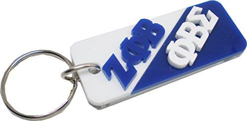 Phi Key Ring (Zeta Phi Beta + Phi Beta Sigma Mirror Split Keychain [White/Blue - 3