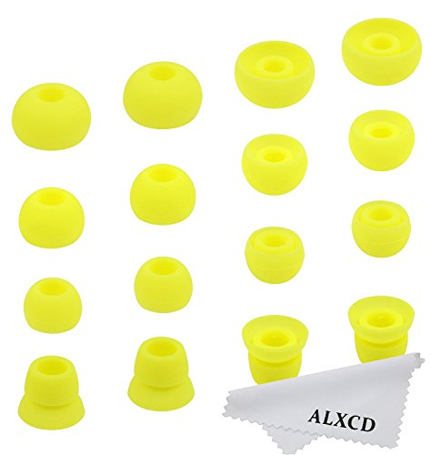 ALXCD Ear Tips for Powerbeats3 Wireless Earphone, SML 3 Sizes 6 Pair Earbud Tips & 2 Pair Double Flange Silicone Replacement Ear Tip Cushion, Fit for Beats Powerbeats 3 Wireless 3 [8 Pair](Yellow)