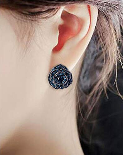 cc3a08786 18K Rose Gold/Silver Plated Stud Earrings,Black Rose Flower Hypoallergenic  Studs Gifts for
