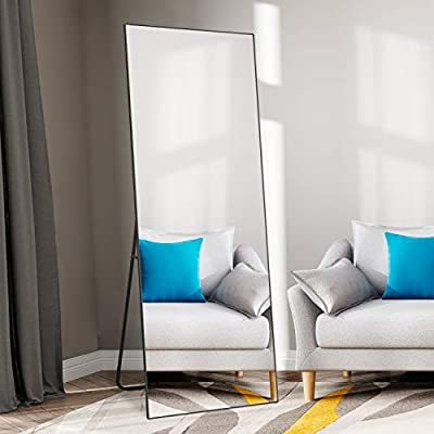 "self Full Length Floor Mirror 65""×22"" Metal Aluminum Alloy Frame Floor Mirror with Standing Holde Standing Hanging or Leaning Against Wall Mirror(Black) - FULL LENGTH SIZE:Floor mirror full size is 65""x 22"", providing all viewing angles in one, enough large for you to see your full body.Expand the visual space of the room EXCELLENT QUALITY:SELF Floor Mirror adopts international quality standards The glass thickness is 0.2""(5mm), HD reflection effect. This large rectangular full-length mirror& floor mirror features a thin brushed frame for a very modern and commercial design. Its frame is made of aluminum alloy, which is durable and will not fade SAFE & EASY TO INSTALL:Full length floor mirror absolutely safety with explosion-proof membrane and scatter prevention. Our glass mirrors can be safely installed anywhere you can choose to place them on the floor or against a wall or wall. It will be very stable and will not cause any accidents. Keep you and your family safe enough - mirrors-bedroom-decor, bedroom-decor, bedroom - 41KpUz5bg1L. SS400  -"