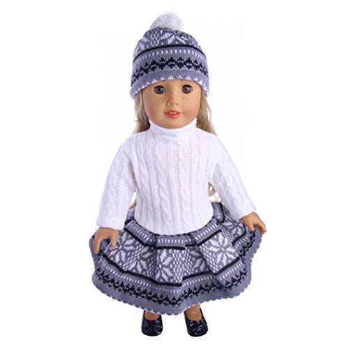 Fiaya 18 inch Our Generation American Girl Doll Cute Reindeer Snowman Sweater Outfit & Cap (Navy)