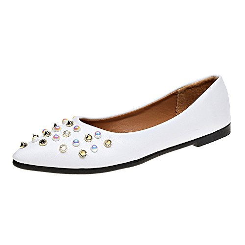 - Hunzed Women【Point Pumps】 Womens Classic Pointy Toe Rivet Slip On - Casual Comfortable Flats (8 M US, White)