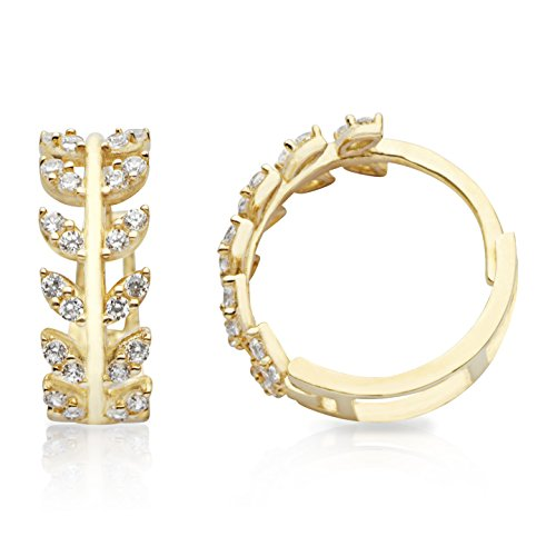 Leaf Design Earrings - NEW 14K Yellow Gold Huggie Hoop Earrings With Branch and Leaves Design for Women and Girls