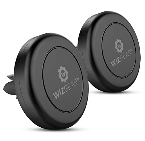 Magnetic Mount - WizGear [2 PACK] Universal Air Vent Magnetic Car Mount Phone Holder - for Cell Phones and Mini Tablets with Fast Swift-Snap Technology - With 4 Metal Plates