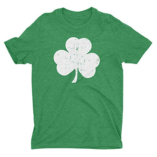 NYC FACTORY USA Screen Printed Men's Retro Heather Green Distressed Shamrock T-Shirt (Large)