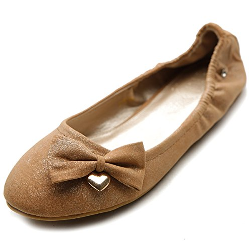 Womens Ribbon Accent - Ollio Women's Shoe Ribbon Accent Comfort Ballet Flat M1812 (6 B(M) US, Brown)