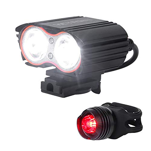 Bike Light, Bicycle Light USB Rechargeable Super Bike Headlight and Back Light Set,Installs in Seconds Without Tools, Powerful Bike Headlight fit for: Mountain road Bikes, Front & Back Illumination