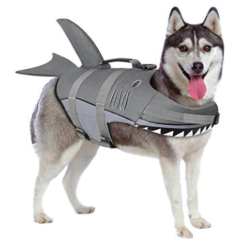 (Petacc Dog Life Jacket Pet Floatation Vest Dog Lifesaver Dog Life Preserver for Water Safety at The Pool, Beach, Boating (M, Shark))