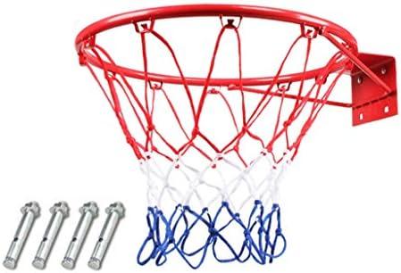 標準のボールを投げることができるバスケットボールフープ、若者のバスケットボールフープ、屋内標準撮影リング棚、屋外の子供のバスケットボールのフープを、壁掛け、耐久性 (Color : Red 1, Size : Diameter 45cm)