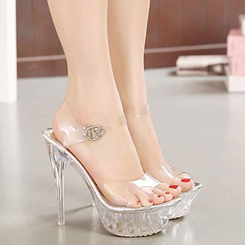 14 Sandals Model Table Princess Women'S Shoes Shoes Wedding Big Bottom Size Cm SFSYDDY Super High Waterproof Heel transparent Shoes Walking Thick zdgzTq