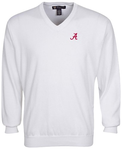 Oxford NCAA Alabama Crimson Tide Men's Solid Vee Neck Sweater, White, Medium by Oxford