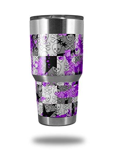 Skin Decal Wrap for Yeti Tumbler Rambler 30 oz Purple Checker Skull Splatter (TUMBLER NOT INCLUDED) by WraptorSkinz