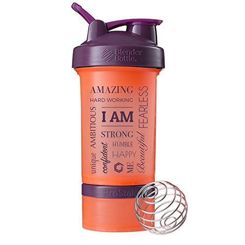 GOMOYO I AM Word Mesh on BlenderBottle Brand ProStak Shaker Cup, 22-oz. Protein Shaker Bottle with BlenderBall Whisk and 2 Twist n Lock Attachable containers(Coral/Plum)