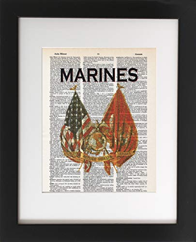 (Marines - Flags - Upcycled Dictionary Military Art Print 8x10. Tribute to the Armed Services. - Unframed - Frame and matting are for presentation purposes only to show you how they can look.)