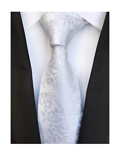 Men's Pure White Silk Cravat Woven Ties Textile Business Neckties for Wedding ()