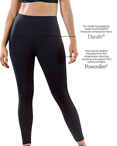 6655df29231ea Leonisa ActiveLife Power Lift Firm Compression High-Waisted Butt Lift  Leggings Activewear Pants for Women
