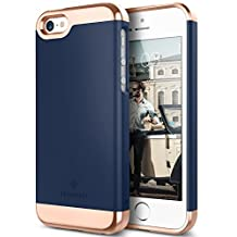 iPhone 5S Case, iPhone SE Case, iPhone 5 Case, Caseology [Savoy Series] Slim Two-Piece Slider [Navy Blue] [Chrome Rose Gold] for Apple iPhone 5S/SE/5