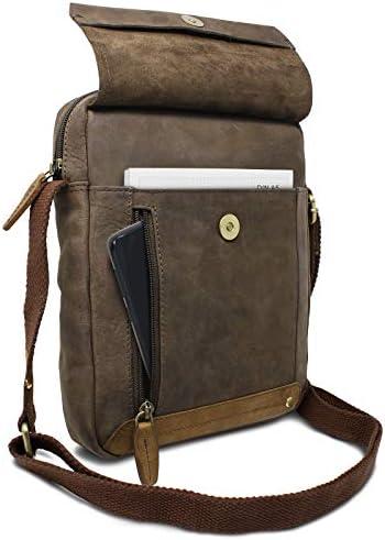 ROYALZ Pequeño Bolso Mensajero de Cuero para Hombre Bolsa de Hombro Masculino Bandolera Mini de Piel Auténtica, Color:Montana marrón