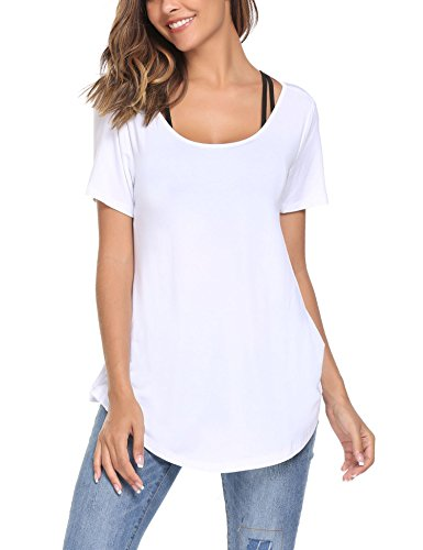 ELESOL Women Slim Fit Summer Tops Lightweight Basic High Low Hem T-Shirts White XXL by ELESOL (Image #1)
