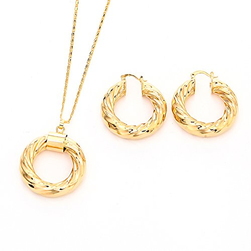 24K Gold Plated Round Pendant Necklace Twisted Hoop Earrings Set Jewelry Ethiopian Jewelry for Women ()