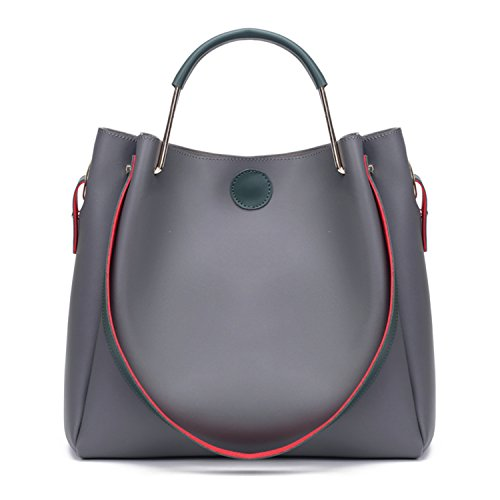 BYD mujeres alta capacidad bolsa de hombro Bolso de monedero de mensajero de leather bolso de hombro de moda de vendimia mujeres Bolso de anillo de metal 2 set gris