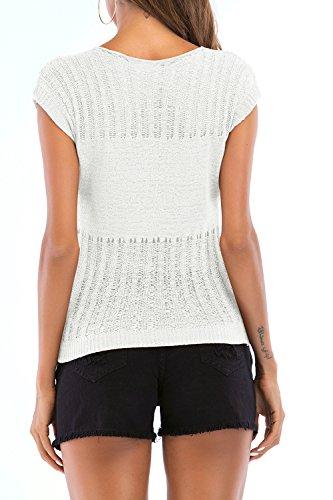 T Slim Femmes Shirt Manche Yacun Chemisier Courte White Occasionnel Maxi 5PXpwf
