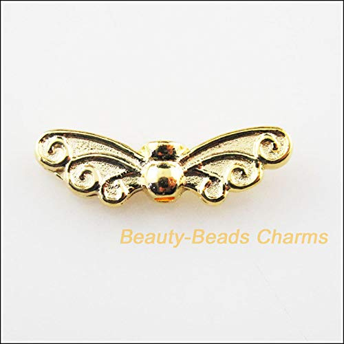 Calvas New 12Pcs Gold Color Animal Dragonfly Wings Spacer Beads Charms 6.5x22mm ()