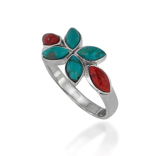- Chuvora 925 Oxidized Sterling Silver Red Coral and Turquoise Gemstone Flower Ring, Size 6