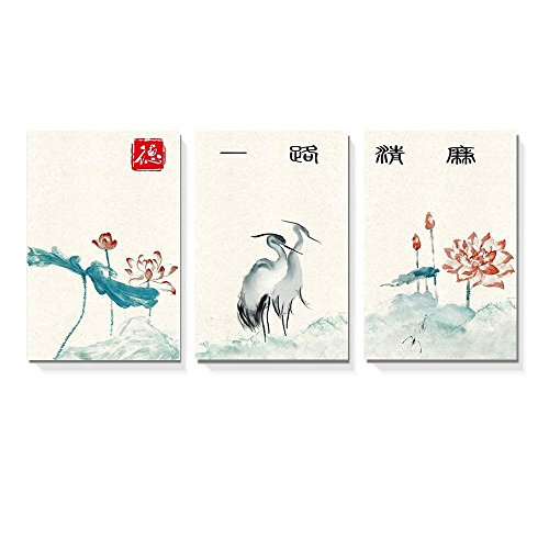 wall26 - 3 Panel Canvas Wall Art - Chinese Ink Painting Herons and Lotus Flowers - Giclee Print Gallery Wrap Modern Home Decor Ready to Hang - 16