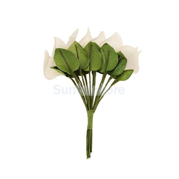 UNAKIM–144Pcs Mini Artificial Calla Lily Bridal Wedding Bouquet Flowers Decor Cream