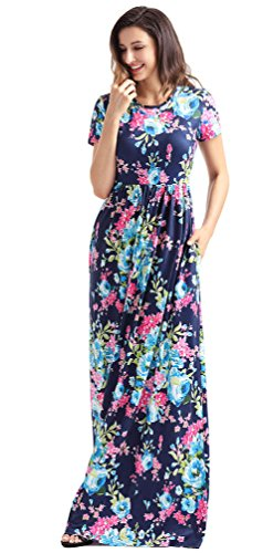 roswear Women's Summer Casual Round Neck Ruched Short Sleeve Floral Maxi Dress with Pockets Bright Blue Large
