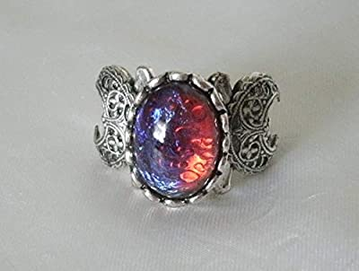 Dragons Breath Fire Opal Triple Moon Ring handmade jewelry wiccan pagan wicca witch witchcraft goddess gothic