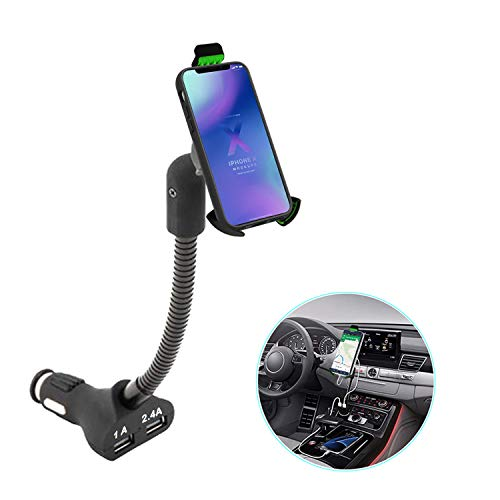 Gooseneck Cell Phone Holder for Car, AIRENA Car Phone Mount with 3.4A Dual USB Charging Ports for iPhoneXS XS Max XR X 8 7 6s 6 5s Samsung Note 9 8 7 S9 S8 S7 Google Nexus (MGHC 62T)