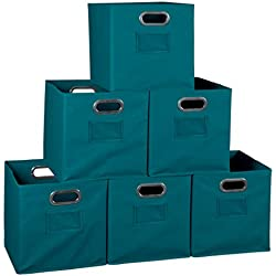 Niche Set of 6 Cubo Foldable Fabric Bins- Teal