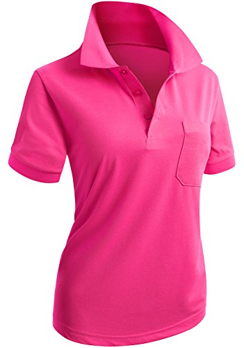 CLOVERY Women's Casual Basic Short Sleeve Polo with Pocket Pink US M/TAG M - Hot Golf Shirt