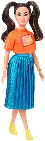 Barbie Fashionistas Doll with Long Brunette Pigtails Wearing Orange T-Shirt, Shimmery Blue Skirt, Yellow Kicks