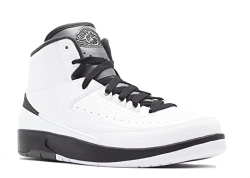Jordan Nike Kids Air 2 Retro BG White/Black/Dark Grey Basketball Shoe 5.5 Kids US (Air Force Jordans Shoes)