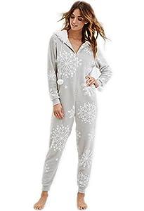 Women's Hooded Snowflake Plush PJ Jumpsuit Onesies