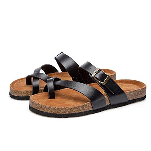 ZKOO Sandalias de Corcho Mujeres Vendaje Punta Abierta Chanclas Zapatillas Sandalias De Playa Zapato Casual de Verano Negro