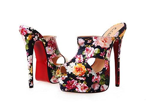 Impermeabile Cavo 41 5 Nvxie Prom Eur 7 Artificiale Sexy Pantofole uk Stiletto eur40uk7 Tacco Alto Dressy Primavera Nightclub Nuovo Con Sandali Nero Pu 8 Donne Rosso Flower vxgWCzvwqR
