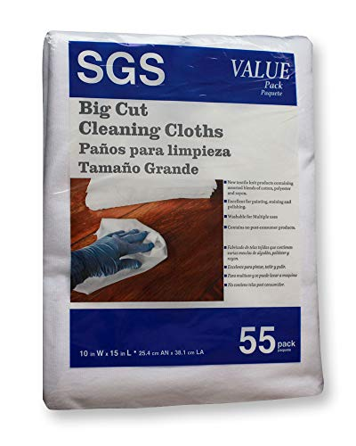 (Sole Good Big Cut Cleaning Cloths for Painting, Staining, Polishing, Cleaning, Auto or Shop, White, Cotton-Poly Knit, 55 Count Pack, 10