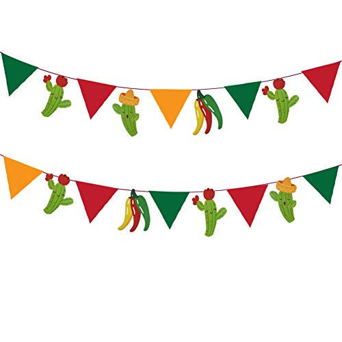 12pcs Mexican Fiesta Banner, Mexican Fiesta Pennant,Cactus,Sombrero,Chili for