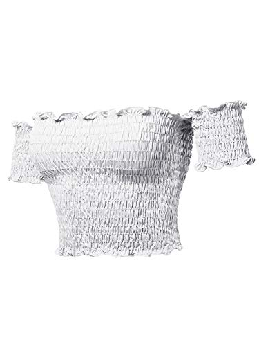Sexy Off Shoulder Shirring Smocking Crop Top White L